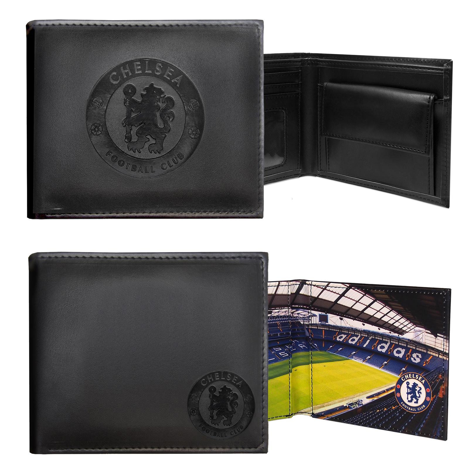 Chelsea-FC-Official-Football-Gift-Embossed-Crest-Wallet-Black miniatura 5